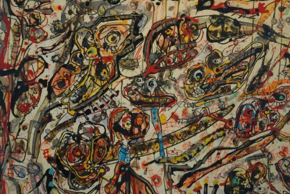 Detalle del cuadro Cocktail Party de Antonio Saura, en el Museo de Arte Abstracto Español de Cuenca.