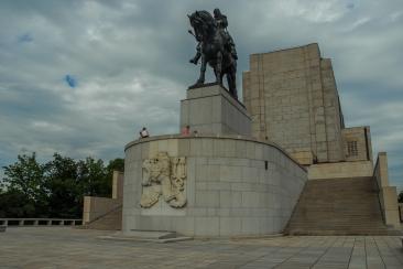 Estatua ecuestre de bronce de Jan Žižka, en la colina de Vítkov, Žižkov, Praga 3.