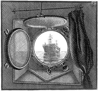 "Grabado ""Ojo de buey"", de Maurits Escher."