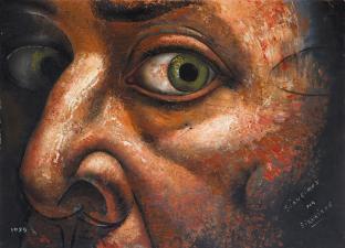 Detalle de un autorretrato de David Alfaro Siqueiros.