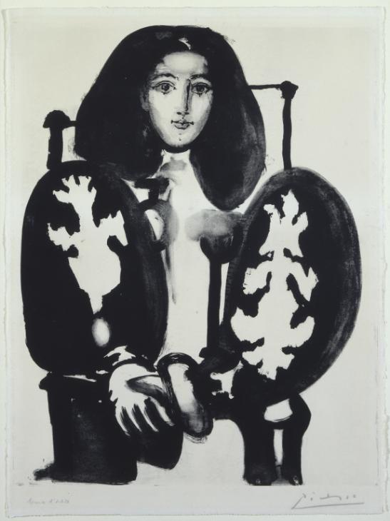 Mujer en una silla Nº1 (El abrigo polaco), el retrato de Pablo Picasso hizo de Françoise Gilot.