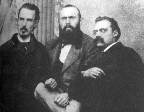 Erwin Rohde, Karl von Gersdorff y Friedrich Nietzsche.