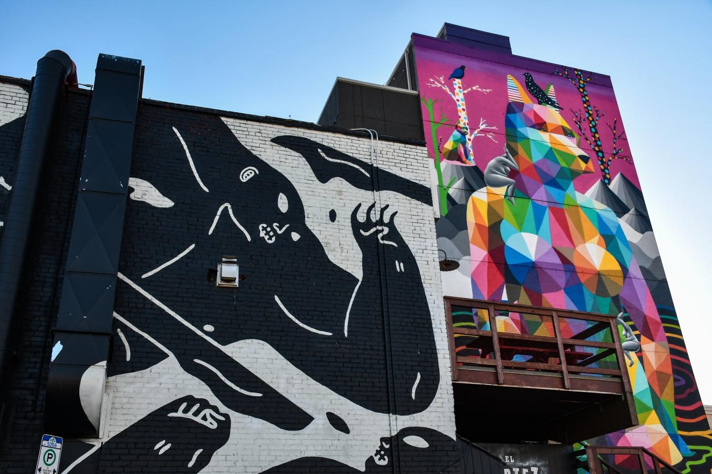 Arte callejero en Old Strathcona, Edmonton, Alberta, Canadá.