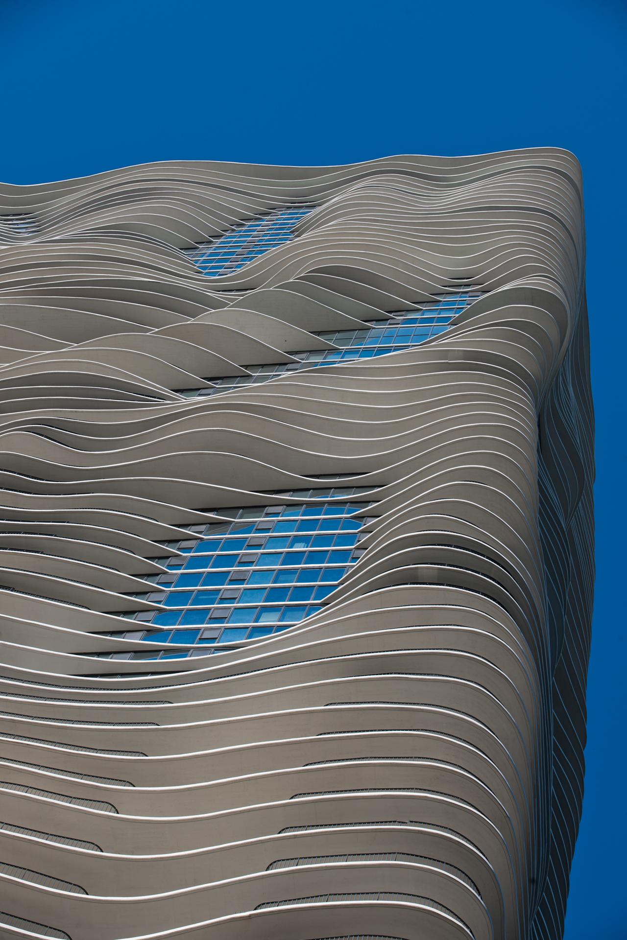 Fachada de la torre Aqua de Chicago. Foto: cortesía del hotel Radisson Blu Aqua.