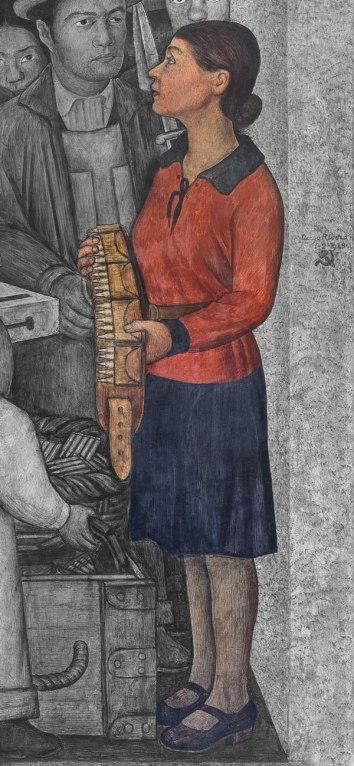 Detalle del mural En el arsenal, de Diego Rivera, Secretaría de Educación Pública de México.